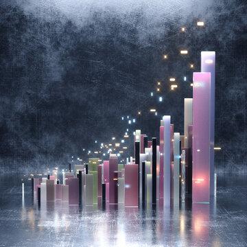 Glowing lights floating over metallic pillars city growth
