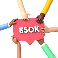 Fototapeta Hands holding a 550k social media followers banner label. 3D Rendering obraz