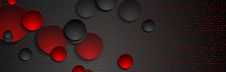 Fototapeta Red black abstract geometric background with circles and glitter dots. Vector banner design obraz