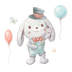 Set of cute cartoon bunny in a hat with balloons