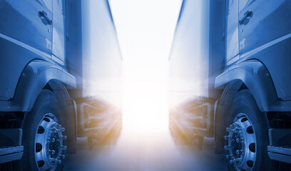 Two Cargo Trucks A Parking with Sunlight. Industry Road Freight Truck. Logistic and Cargo Transport Concept.