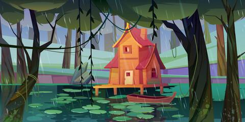 Fototapeta Stilt house at forest swamp with wooden boat. obraz