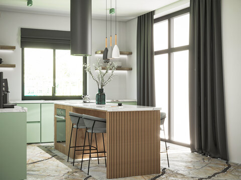 3d rendering of modern wooden and olive kitchen interior design.