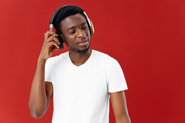 man african appearance in headphones music emotions