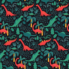 Dinosaur pattern for kids fabric or nursery wallpaper. Dark detailed background with jungle, palms and tropical leaves. Red and green dinos on repeated vector tile.