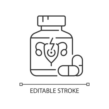 Pills for period cramps linear icon. Relieve painful menstruation. Anti-inflammatory drug. Thin line customizable illustration. Contour symbol. Vector isolated outline drawing. Editable stroke