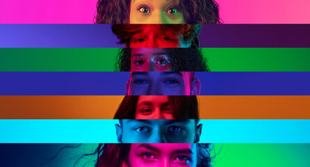 Collage of close-up male and female eyes isolated on colored neon backgorund. Multicolored stripes....