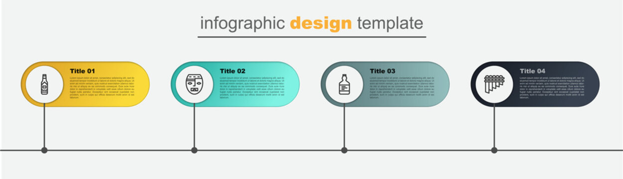 Set line Pan flute, Tequila bottle, Aztec mask and Tabasco sauce. Business infographic template. Vector