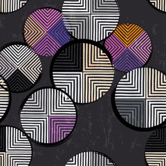 seamless geometric background pattern, with circles, stripes, paint strokes and splashes