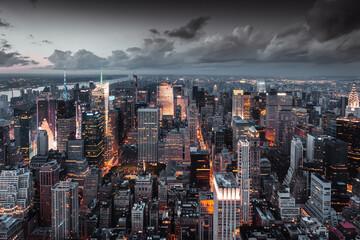 Estores personalizados com sua foto Vue aérienne de nuit sur la city de New York.