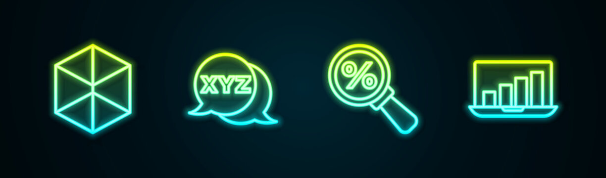 Set line Geometric figure Cube, XYZ Coordinate system, Magnifying glass with percent and Laptop graph chart. Glowing neon icon. Vector