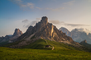 Beautiful early morning Dolomites Alps mountain landscape photo. Giau Pass or Passo di Giau - 2236m mountain pass in the province of Belluno in Italy.