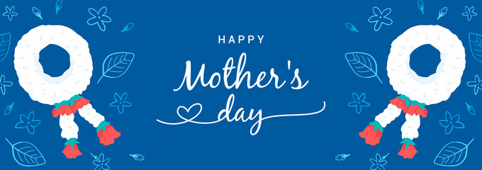 Happy Mother's Day Banner Vector illustration. Thai Jasmine garland on blue background. doodle style