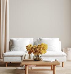 Fototapeta Wall mock up in light simple interior, Scandi-Boho style, 3d render obraz