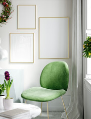 Fototapeta Furnished modern home interior in light pastel colors with poster mockup, 3d render obraz