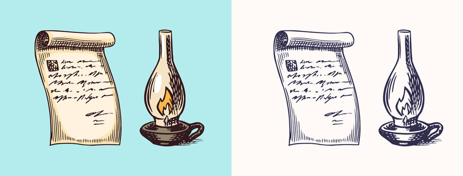 A hand-written letter Letter on paper and Kerosene or paraffin lamp in vintage engraved style. Message. Retro vector illustration for woodcut or woodblock or print. Hand drawn.