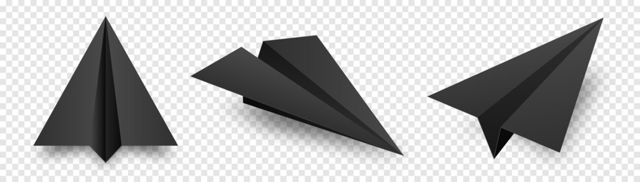 Realistic black handmade paper planes isolated on transparent background. Origami aircraft in flat style. Vector illustration.