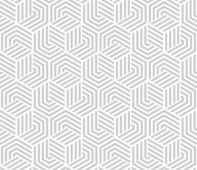 Obraz Abstract geometric pattern with stripes, lines. Seamless vector background. White and gray ornament. Simple lattice graphic design. - fototapety do salonu