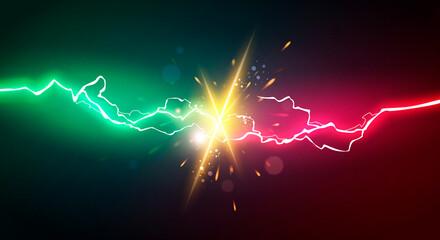 Vector Illustration Energy Lightning For Power Battle
