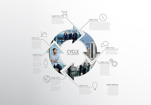 Infographic Cycle Layout Made from Lines and Photos
