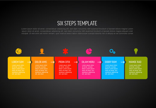 Six Simple Colorful Steps Process Infographic Template on Dark Background