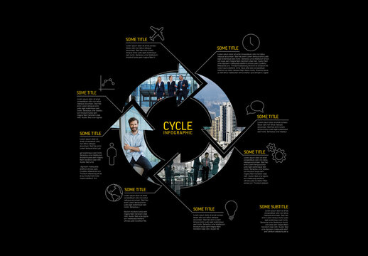 Infographic Dark Cycle Template Made from Lines and Photos