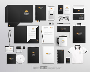 Fototapeta Realistic office stationary with black design Corporate identity mockup set. Black and white corporate Identity Branding Mock-up set with crown logo. Office items and objects mockups obraz