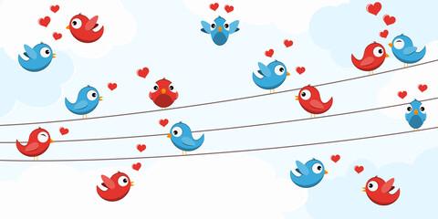 Obraz Birds in love on strings - fototapety do salonu