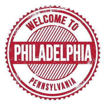 WELCOME TO PHILADELPHIA - PENNSYLVANIA, words written on red stamp