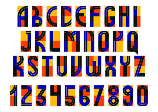 Geometric modern font vector design, geometrical typography alphabet letters set including numbers, abstract letters type.