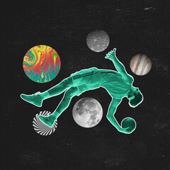 Space theme. Modern art collage. Surrealism, minimalism in artwork. Inspiration, creativity and sports concept