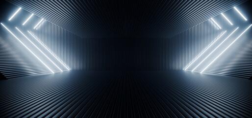 Neon Laser Blue White Led Lights Sci Fi Futuristic Modern Spaceship Dark Tunnel Corridor Hangar Garage Metal Glossy Showroom Empty Stage 3D Rendering