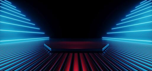 Neon Laser Vibrant Glowing Sci Fi Futuristic Stage Glossy Metal Club Showroom Cyber Hangar Warehouse Background Purple Blue Glowing 3D Rendering