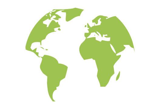Icono de mapa mundi verde por la ecología.