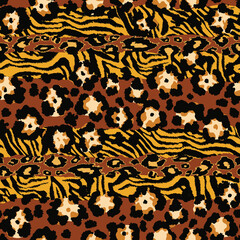 Wild animal leopard and tiger skins patchwork abstract vector seamless pattern