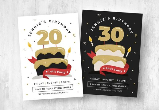 Birthday Party Flyer with Cake Illustration