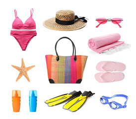 Set with stylish beach bag and other accessories on white background