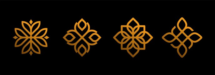 Obraz abstract flower swirl ornamental wall art decoration set collection design icon line art on Black background, Abstract mandala  vector design. Elegant hotel premium ornament vector symbol - fototapety do salonu