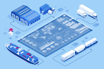 Isometric Global logistics network concept. Interactive panel for tracking cargo online. Maritime, air shipping transport logistic, warehouse storage concept, export or import
