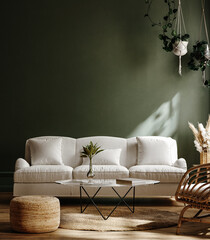 Dark green home interior with white sofa, table and decor in living room, 3d render