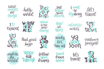Big set of positive phrases about trip and adventure.