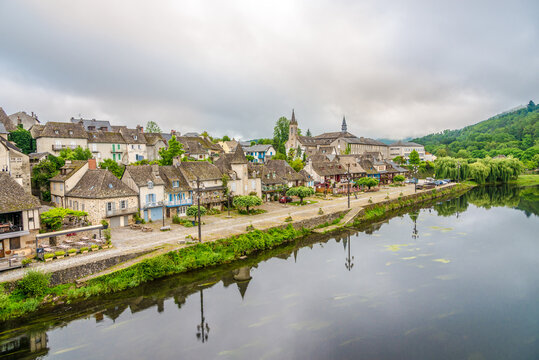 View at the Argentat town on the Bank of Dordogne river - France