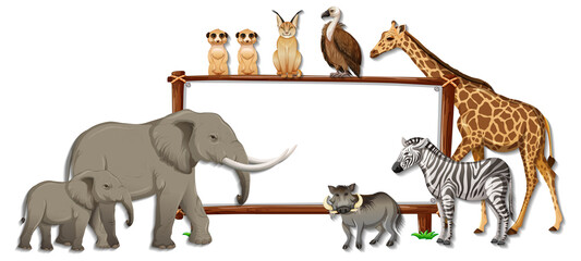 Blank banner with wild animal cartoon character on white background