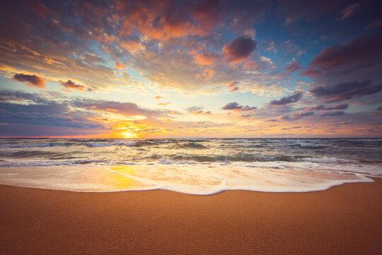 Dramatic sunrise over the sea