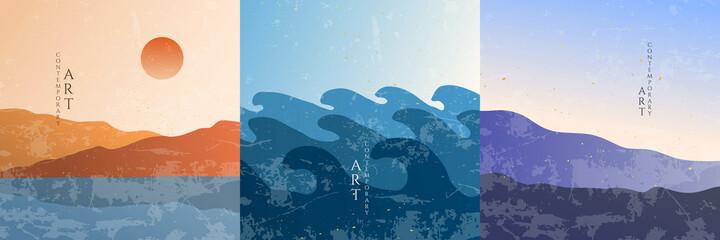 Vector illustration. Minimalist landscape. Abstract banner set. Contemporary backgrounds. Grunge texture overlay. Design elements for social media, blog post. Sea wave, hills sunset scene, sunrise