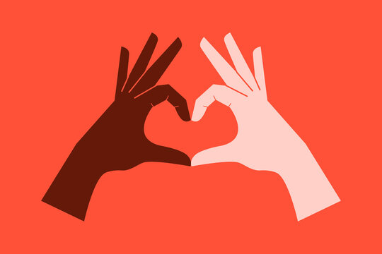 Hands clasped together making a heart. Supporting diversity.