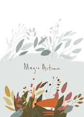 Cartoon Autumn Landscape with Animals in Plants