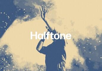 Fototapeta Halftone Printing Photo Effect Mockup obraz
