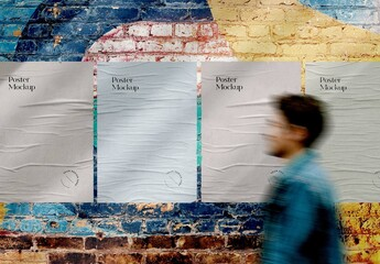 Fototapeta Outdoor Glued Wall Poster Mockup obraz
