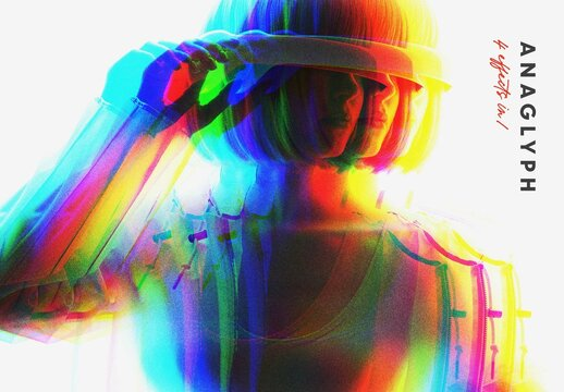 Stereo Anaglyph Photo Effect Mockup